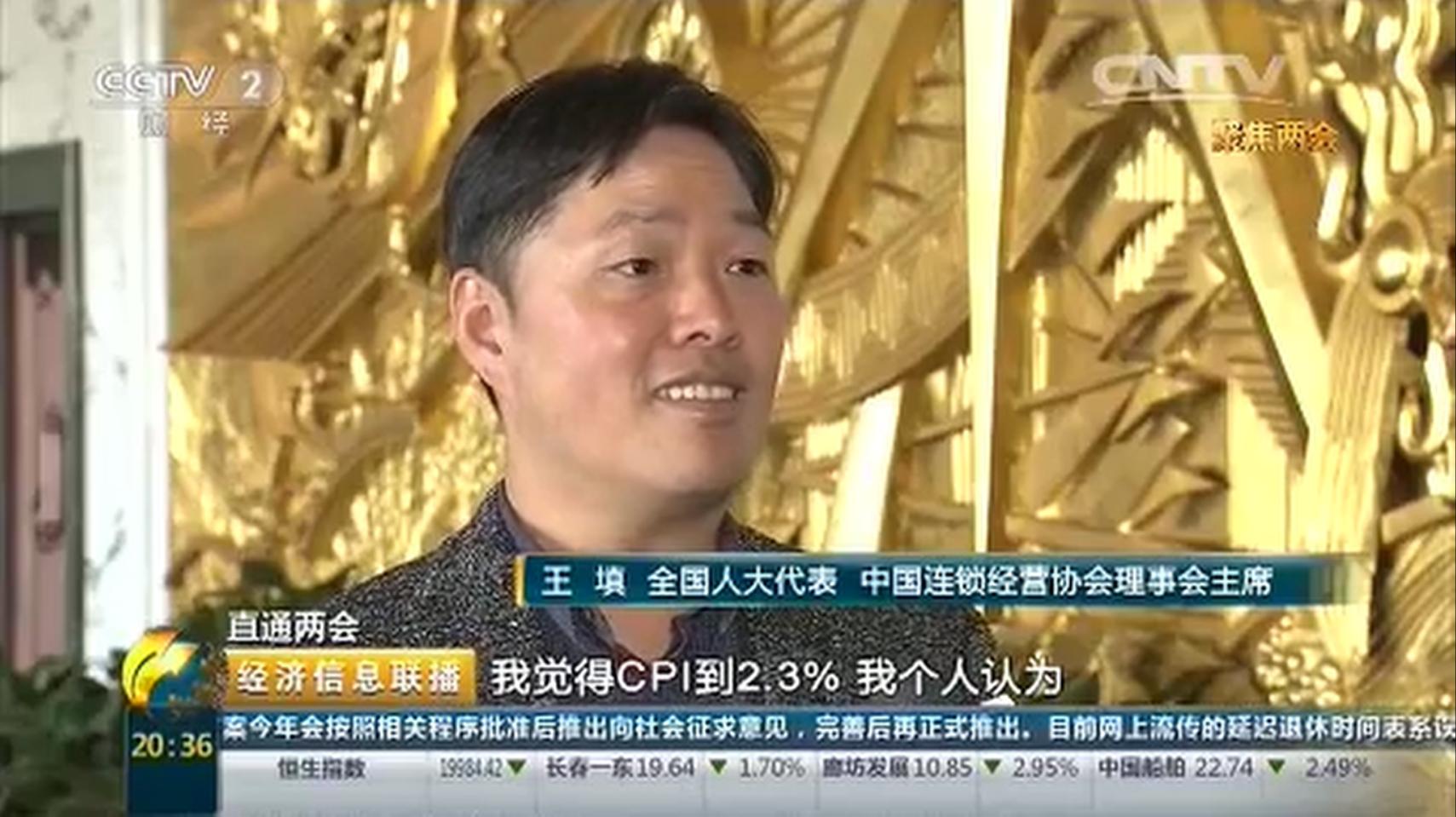 王填代表接受央视财经频道采访:CPI上涨说明经济回暖